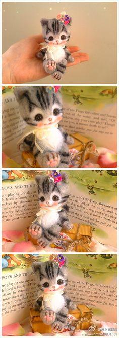 Precious! Needle felted cat