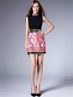 2-Piece Pink Qipao / Cheongsam Dress with Matching Jacket