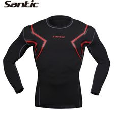 74.47$  Watch here - http://alillo.worldwells.pw/go.php?t=32264443874 - SANTIC Men's Sports Cycling Compression Base Layer Tights Full Tights MTB Winter Long Sleeve Thermal Cycling Underwear Black Red 74.47$