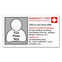 ID Card Template | In Case of Emergency Cards | Pinterest | Card ...