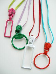 vintage zipper slide pendant necklaces - © amalia versaci 2009    pendant necklaces made with vintage zipper slides with large pulls