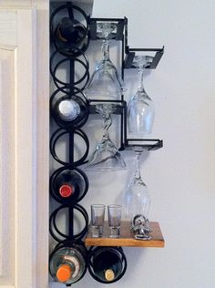 8-Bottle 8-Wine Glass Wrought Iron Wall Mounted Wine Rack - this would be great above my new wine fridge! ;)