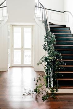 Entryway with staircase, ivy, and antique hardwood floor.
