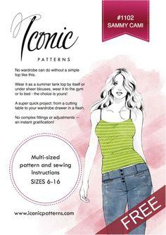 Free Sammy Cami pattern sizes 6-16