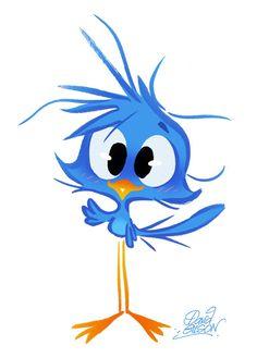Dessin de l'oiseau Twitter par David Gilson