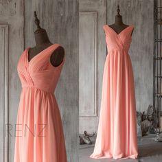 2015 Long Coral Bridesmaid dress Blush Pink Wedding by RenzRags