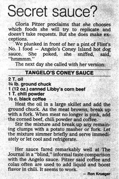 """a """"The Recipe Detective"""" version of Angelo Restaurant's Flint-Style Coney Sauce Chilli Recipes, Hot Dog Recipes, Sauce Recipes, Beef Recipes, Cooking Recipes, Flint Coney Sauce Recipe, Coney Dog Sauce, Hot Dog Sauce"""