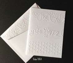 Bee Happy Embossed Cards - Set of 4 white A2 embossed cards or Choose Your Colors - ECSI01 by StudioIdea on Etsy https://www.etsy.com/listing/261674584/bee-happy-embossed-cards-set-of-4-white