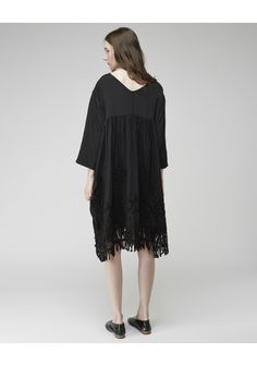 Nouveau Dress by Zucca. A modern dress with vintage inspired looped embroidery & hemline fringe.