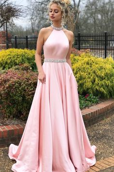 2018 Pink Long Prom Dress, Gorgeous Beaded Pink Long Prom Dress with Open Back