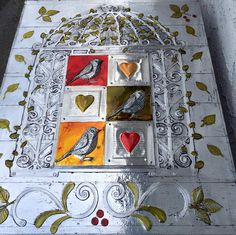 www.pewterart.ca Aluminum foil tape over die cuts, pewter sheet birds and hearts, Ranger alcohol inks