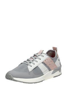 Tamaris sportieve dames sneaker - grijs met roze accenten