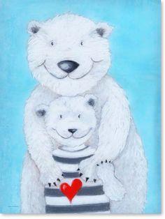Spectacular Bilder Kinderzimmer auf Leinwand gedruckt f r Jungen und M dchen Motiv Eisb r Papa