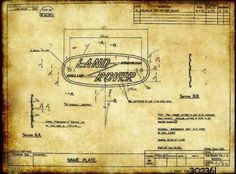 Drawing of name tag Land Rover