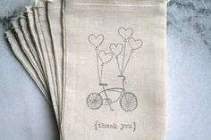 Muslin favor bags, muslin, 3x5. Set of 25. Bulk discounts and custom orders available.  Bike with balloons Thank You.. $25.00, via Etsy.