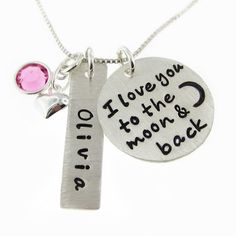 I Love You To The Moon And Back Necklace   Personalized   Hand Stamped   Birthst J.C. Jewelry Design
