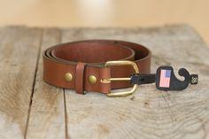 made in the USA veg tan belt, light brown. Beautiful and made to last a lifetime. #menswear #guythings #belt #madeinusa #newenglandouterwear