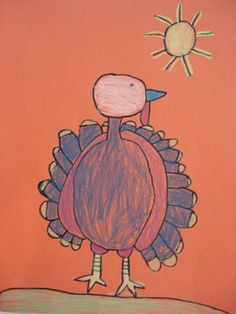 Here's a quick little Thanksgiving lesson perfect for K-2. I had students follow me doing a simple turkey...