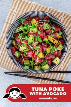 If you want to enjoy a healthy, no-cook meal at home in your pajamas, this simple Tuna Poke with Avocado will hit the spot! Free Paleo Recipes, Whole 30 Recipes, Fish Recipes, Seafood Recipes, Healthy Recipes, Healthy Lunches, Healthy Sweets, Seafood Dishes, Healthy Salads