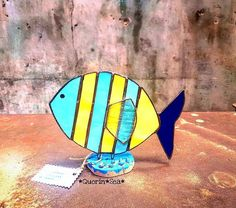 summer stained glass home decor,handcrafted stained glass fish statue,home outdoor,interior summer style accessories,ocean style home by Quorin on Etsy