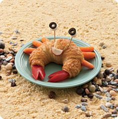 Crabby sandwich- cresent roll stuffed with your favorite lunch meat, PB or chicken salad. Red pepper does great for the claws, carrots for legs, radish for smile and olives for eyes. Kids may not eat those but they'll love the fun lunch!