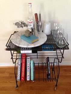 Wire Rolling Drink Cart / Record Player Stand