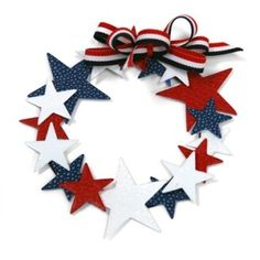 Wreaths are a great idea for homemade 4th of July decorations. This has features striped ribbon and paper stars in red, white and blue.