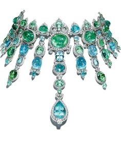 Necklace Giampiero Bodino Barocco Necklace with carats of African Paraiba tourmalines, surrounded by white gold and diamonds. - From Cartier to Giampiero Bodino, see the most exquisite jewels from the 2014 Biennale des Antiquaires in Paris. High Jewelry, Jewelry Box, Jewelry Necklaces, Statement Necklaces, Luxury Jewelry, Jewelry Stores, Jewelry Websites, Jewelry Making, Antique Jewelry