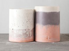 Maddie Sharrock is a Melbourne based artist and sculptor working with colourful, layered concrete, and the creator of signature homewares range Studio Twocan. Concrete Crafts, Concrete Art, Concrete Projects, Ceramic Pottery, Ceramic Art, Cement Pots, Ceramic Studio, Diy Planters, Ceramic Design