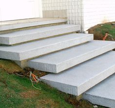 Front Door Steps, Front Stairs, Entry Stairs, Exterior Stairs, House Stairs, Concrete Stairs, Concrete Patio, Landscape Stairs, Outdoor Steps