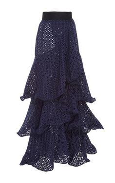 Johanna Ortiz Eyelet Ruffle Skirt