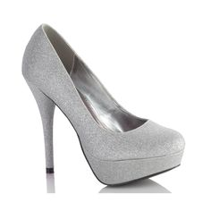 Aspen Silver Glitter Platform Pump Dress High Heel Shoes