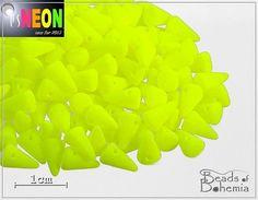 24 pcs UV Active Neon Yellow Czech Glass Spike by BeadsOfBohemia