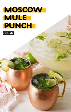 Moscow Mule Punch This Big Batch Moscow Mule Recipe Is The Ultimate Party PunchDelish Sangria Recipes, Punch Recipes, Cocktail Recipes, Drink Recipes, Yummy Recipes, Recipies, Holiday Drinks, Fun Drinks, Yummy Drinks