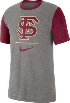 24e326a7a75 Nike Men s Florida State Seminoles Grey Dri-FIT Baseball Slub T-Shirt