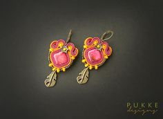Indian style pink orange soutache earrings by pUkke on Etsy