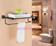 Oil Rubbed Bronze Bathroom Shelf w/ Towel Rack Hotel Style Towel Bar Wall Rack Bronze Bathroom, Wall Bar, Wall Racks, Bathroom Shelves, Oil Rubbed Bronze, Shelf, Towel, Cabinet, Storage