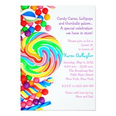 Shop Candyland candy Theme Sweet 16 Invite created by PurplePaperInvites. Sweet 16 Invitations, Create Your Own Invitations, Invites, Bat Mitzvah Invitations, Birthday Party Invitations, Candy Land Theme, Candy Land Decorations, Bat Mitzvah Themes, Sweet 16 Parties