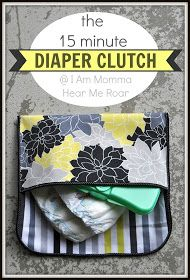 This is adorable for a baby bag! I Am Momma - Hear Me Roar: the 15 Minute Diaper Clutch
