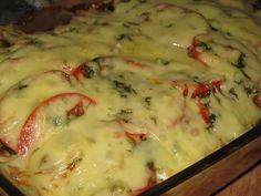 Musaka od patlidžana i piletine. Musaka, Pasta Carbonara, Tzatziki, Mashed Potatoes, Sandwiches, Snacks, Chicken, Meat, Ethnic Recipes