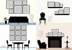 organização de quadros na parede, estante e prateleira