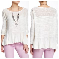 """Free people ruffled sweater Color is eggshell. Get in touch with your inner flower child in a cozy knit top styled for festival season with an embroidered illusion yoke panel and elongated bell sleeves. - Boatneck - Long flounce sleeves - Unlined - Approx. 25"""" shortest length, 27"""" longest length  Fiber Content: 57% cotton, 23% rayon, 20% nylon Care: Hand wash cold, dry flat Fit: this style fits true to size.  Model's stats for sizing: - Height: 5'9"""" - Bust: 34"""" - Waist: 24"""" - Hips: 35"""" Model…"""