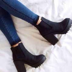 - shoes boots black boots black shoes small heel chelsea boots chunky boots black heels short black h - High Heels Boots, Chunky High Heels, Black High Heels, Thick Heel Boots, Short Black Boots, Black Heeled Boots Outfit, Black Heeled Combat Boots, Black Chelsea Boots Outfit, Chunky Heels Outfit