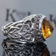 Silver Ring Citrine Men Sterling 925 unique handcrafted Artisan Jewelry #KaraJewels #Handmade
