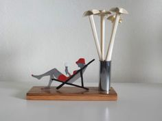 ORIGINAL FRENCH ART DECO  LADY WITH ICE / COCKTAIL STIRRER STICKS