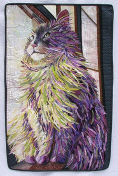 """the cat"" art quilt by jane broaddus You know I love cats. This piece is so well done with it's bold use of color and fabulous expression."