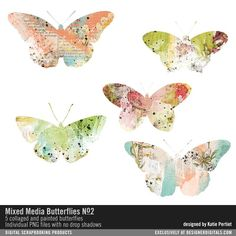 Mixed Media Butterflies No. 02 collage art painted butterflies for cardmaking and scrapbooking #designerdigitals