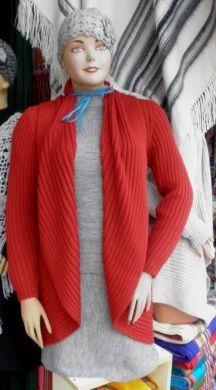 #Damen #Set hellgrauer #Rock, hellgrauer Rollkragen #Pullover lange rote #Strickjacke und #Mütze