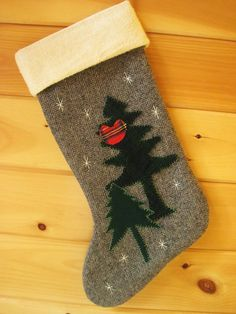 "Wool Christmas Stocking / Large Stocking / Woodland Stocking / Rustic Christmas Stocking / Cabin - ""Cardinal in the Pines"". $49.00, via Etsy."