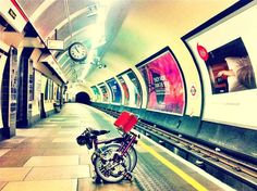 Brompton bicycle in the tube